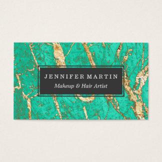 Modelo elegante del mármol de la turquesa del oro tarjetas de visita