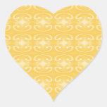 Modelo elegante del remolino en colores amarillos pegatina de corazón personalizadas