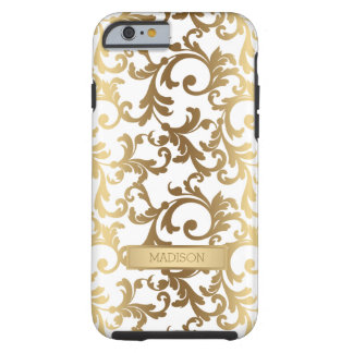 Modelo elegante dorado del damasco funda de iPhone 6 tough