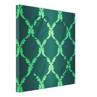 modelo elegante elegante floral del damasco verde impresión de lienzo