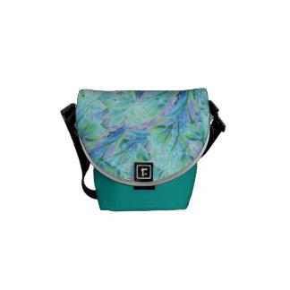 Modelo elegante floral del extracto azul del color bolsas de mensajería