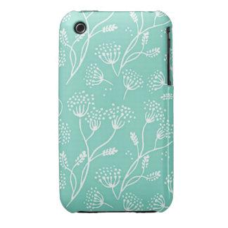Modelo elegante floral del trullo de la menta de iPhone 3 protector