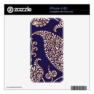 Modelo elegante floral femenino de Paisley del vin iPhone 4 Skins