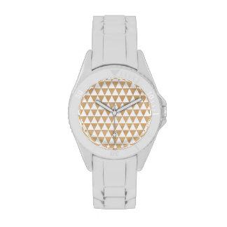 Modelo elegante geométrico de madera tribal reloj