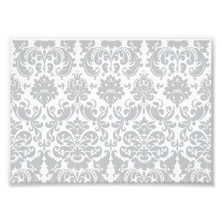 Modelo elegante gris y blanco del damasco cojinete