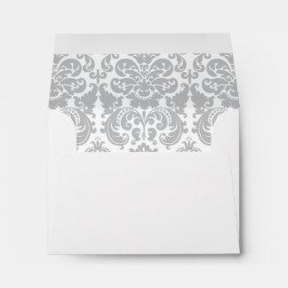 Modelo elegante gris y blanco del damasco sobres