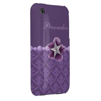 Modelo elegante impreso de la flor y del damasco Case-Mate iPhone 3 cobertura