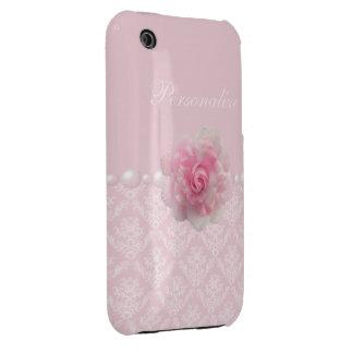 Modelo elegante impreso de la flor y del damasco iPhone 3 carcasa