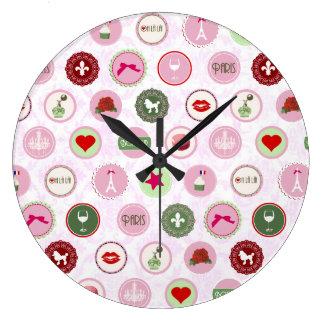 Modelo elegante lamentable rosado retro de París Relojes