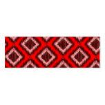 Modelo elegante moderno rojo tribal de Ikat Plantillas De Tarjetas Personales