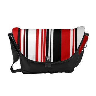 Modelo elegante negro rojo de la raya bolsas de mensajeria