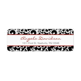 Modelo elegante negro y rojo del damasco etiqueta de remitente