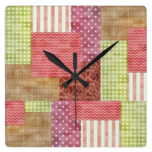 Modelo elegante Quiltblocks del remiendo del país Reloj Cuadrado