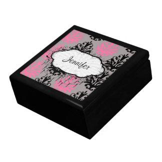 modelo elegante rosado y negro gris del damasco cajas de joyas