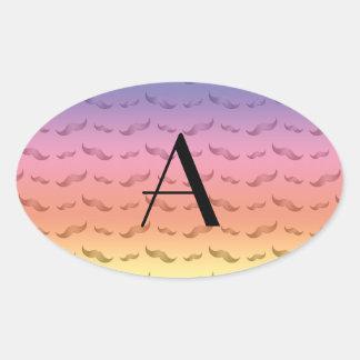 Modelo en colores pastel brillante del bigote del colcomanias oval personalizadas