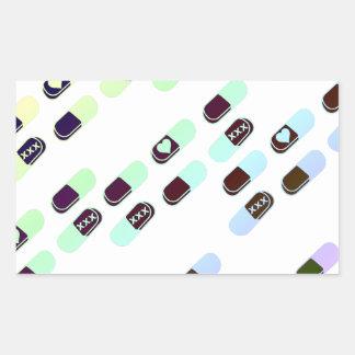 Modelo en colores pastel de las píldoras del arco pegatina rectangular
