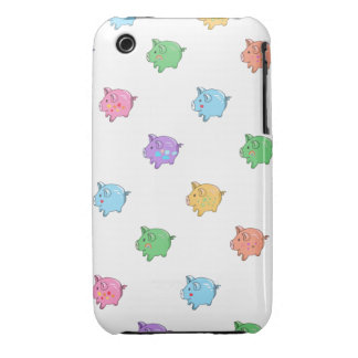 Modelo en colores pastel del cerdo iPhone 3 fundas