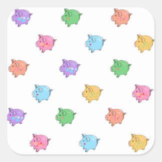 Modelo en colores pastel del cerdo calcomanías cuadradass
