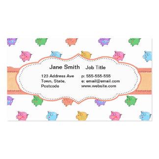 Modelo en colores pastel del cerdo tarjetas de visita