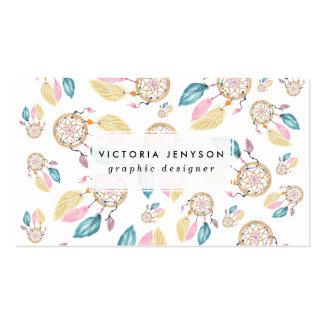 Modelo en colores pastel del dreamcatcher de la tarjetas de visita