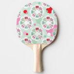 modelo en colores pastel del fondo del búho de la  pala de tenis de mesa