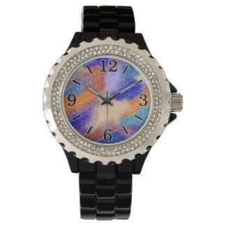 Modelo en colores pastel geométrico moderno de la reloj de mano