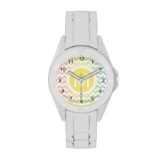 Modelo en colores pastel multi de Chevron Reloj