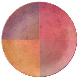 Modelo en colores pastel rosado de la acuarela del platos de cerámica