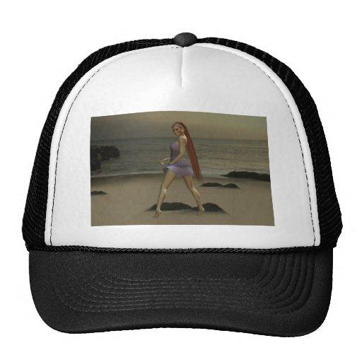 Modelo en la playa gorras de camionero