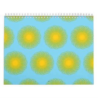 Modelo enérgico de las curvas azul claro calendarios de pared