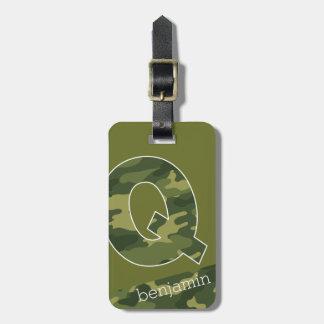 Modelo enorme del camuflaje de la letra Q del Etiqueta Para Maleta