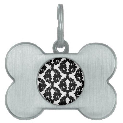 modelo enrrollado blanco y negro del damasco placa de mascota