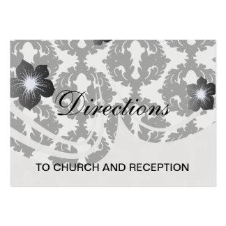modelo enrrollado blanco y negro del damasco tarjetas de visita grandes