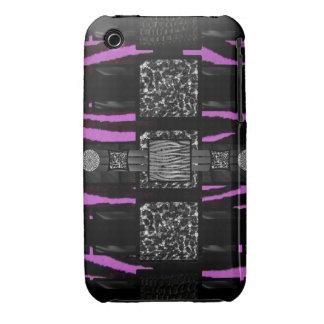 Modelo enrrollado del rosa de la cebra del iPhone 3 Case-Mate fundas