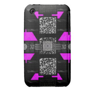Modelo enrrollado del rosa de la cebra del Case-Mate iPhone 3 carcasa