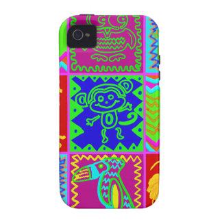 Modelo enrrollado intrépido colorido del remiendo  iPhone 4 carcasas