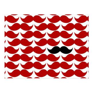 Modelo enrrollado retro rojo del bigote postales