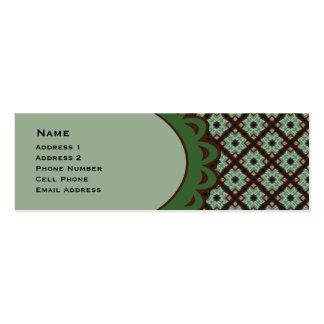 Modelo entrecruzado verde bonito de Brown Tarjetas De Visita Mini
