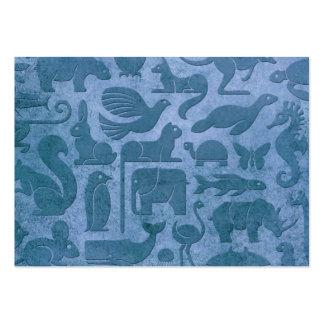 Modelo envejecido y llevado del azul del reino ani tarjetas de visita grandes