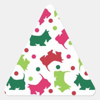 Modelo escocés del navidad de los terrieres colcomanias triangulo