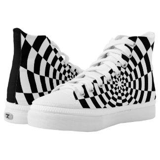 Modelo espacial a cuadros de la ilusión óptica zapatillas