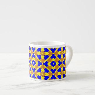 Modelo español amarillo azul anaranjado de la teja taza espresso