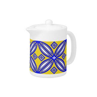 Modelo español azul y amarillo de la teja del