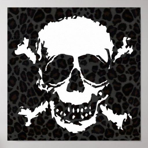 Modelo espeluznante del cráneo y del leopardo de l impresiones