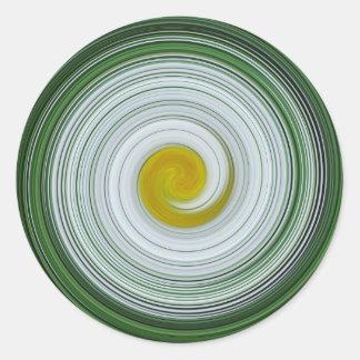 Modelo espiral blanco, amarillo, verde pegatinas redondas