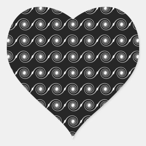 Modelo espiral blanco y negro del remolino pegatina