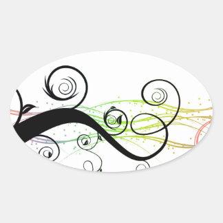 Modelo espiral con las hojas y los círculos pegatina ovalada