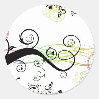 Modelo espiral con las hojas y los círculos pegatina redonda