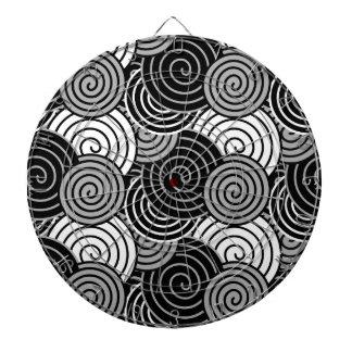 Modelo espiral gris blanco negro del diseño tablero de dardos
