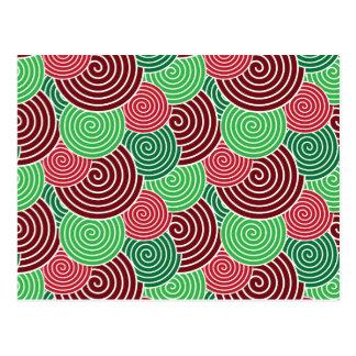 Modelo espiral verde rojo del día de fiesta del postales